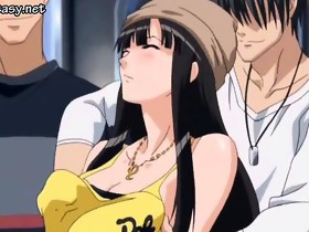 Brunette anime beauty receives rubbed