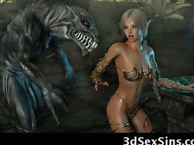 3D Evil Creatures Fuck Elf Girls!