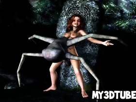 Small 3D babe getting drilled by an alien spider