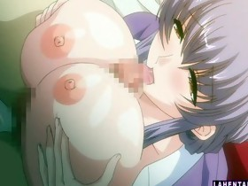 Hentai girls sucks fellows hard cock