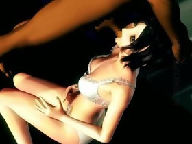 Dark brown 3D anime babe take dick