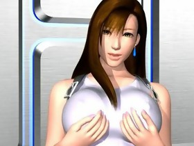 Slutty 3D anime whore gives boobjob