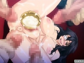 Curvy anime honeys gets brutally fucked