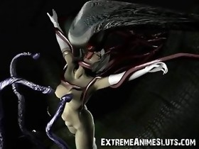 3D Tentacled Dragon Fucks Warrior Girl!