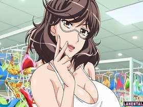 Huge titted anime brunette drilled in changing..