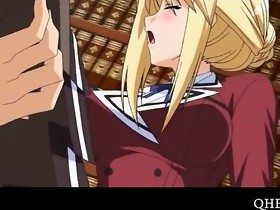 Blonde anime beauty screwed on the library floor