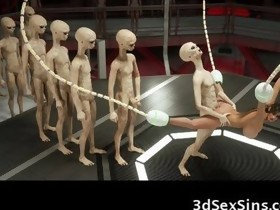 3D Busty Playgirl Gangbanged by Aliens!