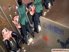 Busty manga coeds group gangbang in the class