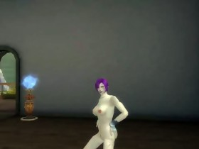 3d aion sexy dance purple hair beauty nude patch