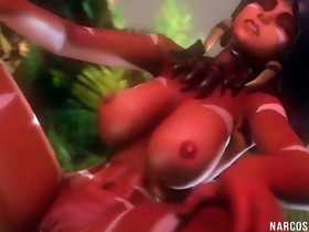 Excited 3D hotties receive pussy fucked in..