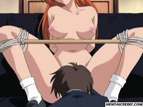 Ginger hentai girl gets tied up and fucked rough
